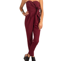 Strapless Side Tie Jumpsuit - Wine