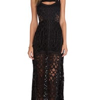 Natuna Lace Gown in Lurid Black