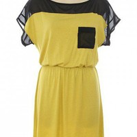 COLORBLOCK MESH DRESS-Casual Dresses-casual dresses for juniors,casual dresses,comfort dress,casual elegant dress,designer dresses