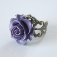 Purple Resin Rose Flower Vintage Bronze par CoolWaterGems sur Etsy