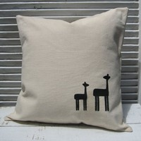Supermarket - Mama and Baby Giraffe Pillow Cover from finch-design