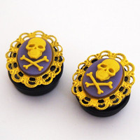 Haunted Carnival Skull Cameo 13/16 Inch 20mm Plugs by Glamsquared