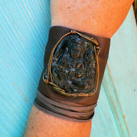 Jade Quan Yin Recycled Leather Cuff by SpiritTribe on Etsy