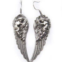 The Original Silver Guardian Angel Wing Earrings by BreatheCouture