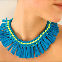 turquoise statement necklace  neon yellow blue by Pamplepluie