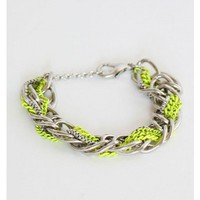 Neon Green and Silver Interwoven Bracelet