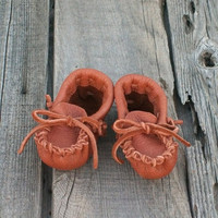 $14.40 SALE Leather baby moccasins Handmade by thunderrose