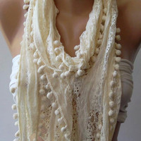 Ivory Beige Lace and Elegance Shawl / Scarf with by womann