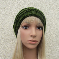 Green Unisex Hand Knitted Hat Beanie Hat in Dark by Madebyfate