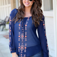 Indian Village Blouse {Navy}