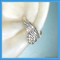 Angel wing silver ear cuff