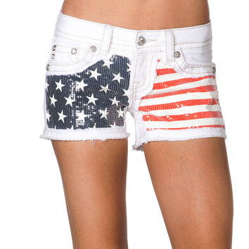 Miss Me Women's Sequin Flag White Denim Shorts