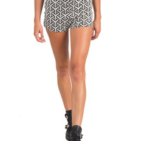 ABSTRACT AZTEC HIGH WAISTED SHORTS