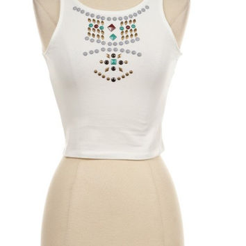 Beaded Boho Crop Top Tumblr Hipster
