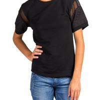 QUILTED NET SLEEVED KNIT TEE