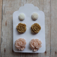 Neutral Colors Earring Gift Set Rose Dahlia Floral Flower Studs Earring Gift Set Bridesmaid Bridal Gift Flower Girl
