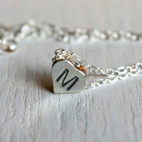 Sterling Silver Heart Initial Necklace