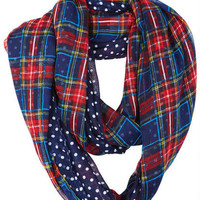 Plaid/Polka Dot Infinity Scarf