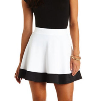 COLOR BLOCK HIGH-WAISTED SKATER SKIRT