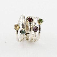 Mutli-Gemstone Two Tone Sterling Silver Stack Ring