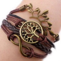 Mae & Mee Fashion Lady Retro Infinity Wings Owl Strands Suede Rope Bracelet Gift