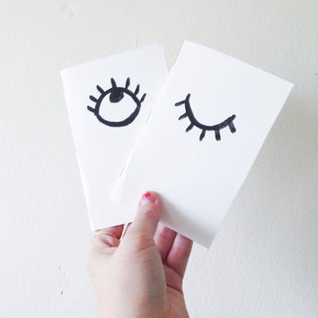 Pocket notebook / minimal monochromatic evil eye pattern / jotter / painted stationery