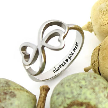 """Mother Ring, Double Hearts Infinity Ring, Promise Ring """"Always Love You My Mom"""", Mother Daughter Forever"""