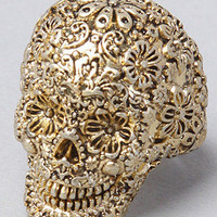 The Pirates Glamour Skull Ring in Gold by Disney Couture Jewelry | Karmaloop.com - Global Concrete Culture