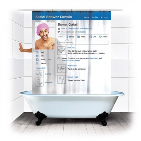 ~$24.00 Social Shower Curtain | spinninghat.com
