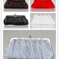 Gorgeous Solid Ruffle Women Evening Bag