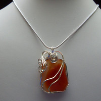 Carnelian Wire Wrapped  Pendant by elainesgems on Etsy
