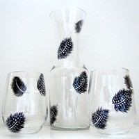 Spotted Feathers 3 Piece Wine Set by SwirlyGarden on Etsy