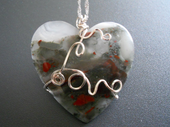 Cherry Orchard Jasper Heart Pendant by elainesgems on Etsy