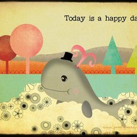 Mister Gray The Whale Happy Days Archival Art by PenelopeandPip