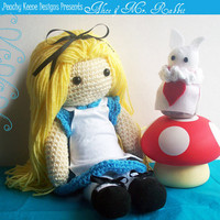 Crochet Doll Alice In Wonderland Set by PeachyKeeneDesigns