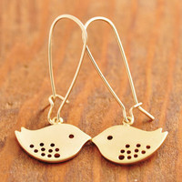 Gold Bird Earring  gold sparrow earring love birds by MegusAttic