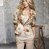 Jeanology Cabbage Rose-Print Girlfriend Blazer at Newport-News.com