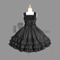 Alluring Sleeveless Square Collar Bowknot Multi-Layer Cotton Black Gothic Lolita Dress [TQL120504082] - £48.59 :