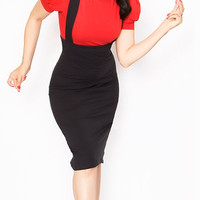 Rockabilly Girl by Bernie Dexter**Fitted Black Maria Overall Pencil Skirt - Unique Vintage - Cocktail, Evening, Pinup Dresses
