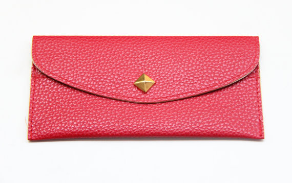 Red Leather wallet with golden pyramid by Pikamo on Etsy