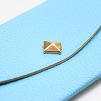 Pale Blue Leather wallet with golden pyramid by Pikamo on Etsy
