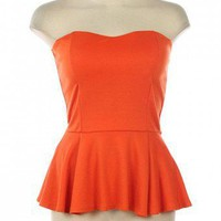 KNIT BUSTIER PEPLUM TOP