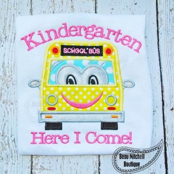Kindergarten Bus Monogrammed Customized Embroidered shirt for Infants & Toddlers