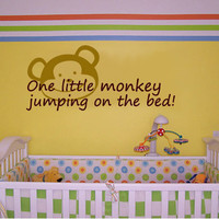 One little monkey jumping on the bed  Vinyl Wall Quote by 7decals