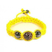 Macrame Bracelet Yellow with Amber Color Pave Bead and Hematite Beads | HCLTreasures - Jewelry on ArtFire