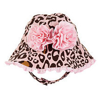 Koala Baby Girls' Pink Leopard Ruffled Swim Hat