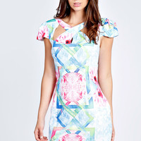 Anne Digital Print Cross Front Woven Bodycon Dress