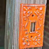 "Orange Decorative ""FLEUR DE LIS"" LightSwitch Cover by AquaXpressions"