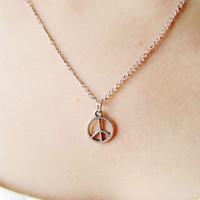 silvery peace sign pendant women collarbone by braceletcool