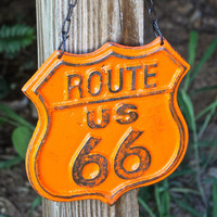 "Orange ""Route 66"" Cast Iron Hanging Sign by AquaXpressions"